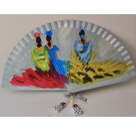 Abanico con flamencas